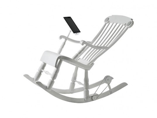 green design, eco design, sustainable design, Micassa Lab, irock, kinetic energy rocking chair, energy producing rocking chair, kinetic furniture, ipad charger, ipod charger, kinetic iphone charger