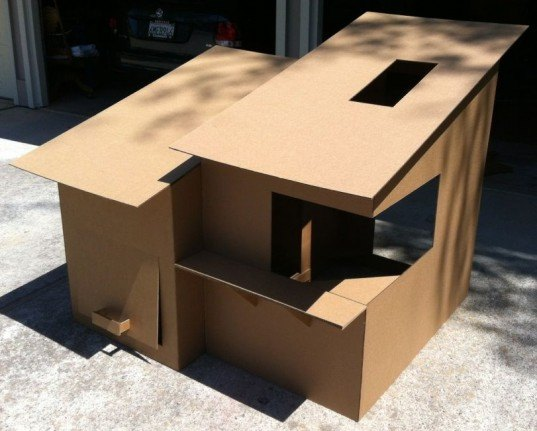 modern playhouse, cardboard playhouse, cardboard kids fort, cardboard fort, diy fort, diy playhouse, recycled cardboard