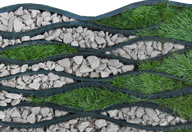 Beintween recycles old car tires into 39 matireal 39 for for Garden made of waste material