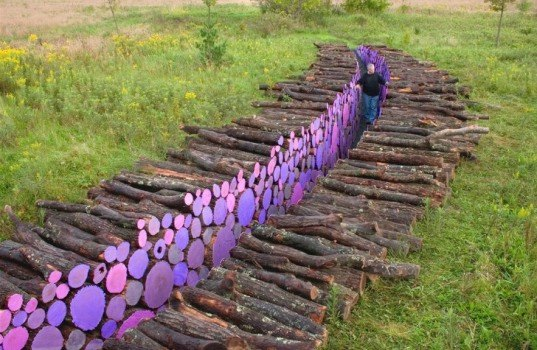 michael mcgillis, franconia sculpture park, log sculpture, natural artwork, sus