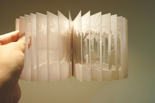 yusuke oono, book, fairytale, 36o degrees, diorama, snow white, fab cafe, you fab, laser cutter