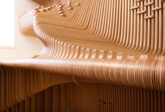 synthesis design and architecture, chelsea, workspace, birch, wood, office, world map