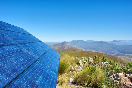 south africa, renewable energy, solar power, solar panel, african mountain scape