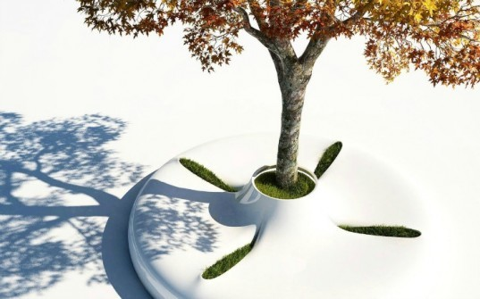 marko vuckovic, tree bench, white corian. sustainable design, green furniture, industrial design, nature products