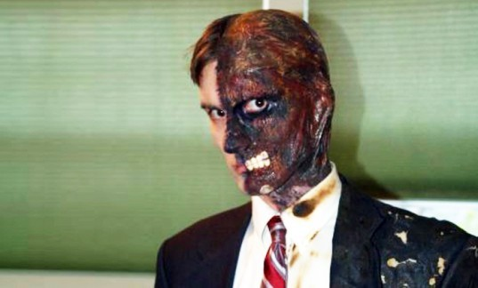 Two-Face Halloween Costume, Joseph Bertucci, inhabitat halloween costume contest winners, halloween costume, costume contest, diy costume, eco-friendly costume, green halloween, green halloween 2012, halloween, inhabitat green halloween costume contest, sustainable costume, homemade halloween costume, halloween costume ideas, diy costume ideas, handmade halloween costumes, green halloween diy costume contest, barrel of cheese balls halloween costume, working camera halloween costume, photobooth halloween costume, zombie lego minifig halloween costume