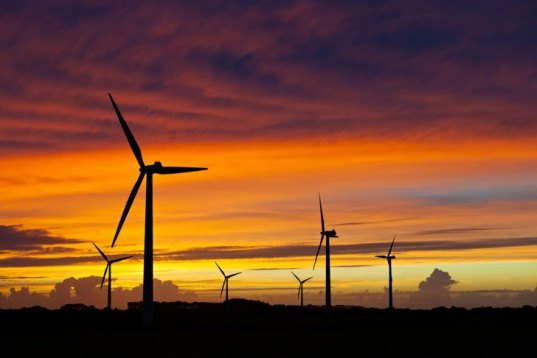Wind farm, sunset, wind energy, windmills, wind turbines, wind industry