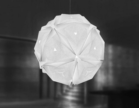 led lamp, paper lamp, led paper lamp, paper lanter, jiangmei wu, tacit design, folded lamps, folded light art, folded light, origami lamp, origami light