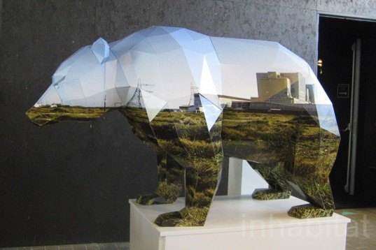 Anna Garforth, Papercraft, Bear, recycled cardboard, migration, human landscape, Animals, Art, Recycled Materials, Green Design Events, dutch design week