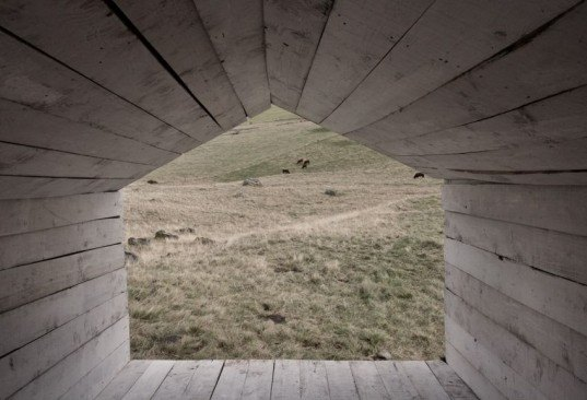 Atelier 37.2, Sloping House, recycled wood, shelter, extinct volcano, Art, Recycled Materials