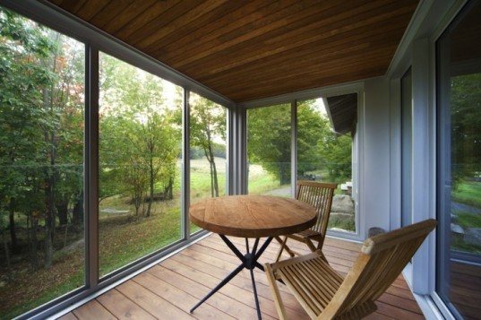 Bromont Residence, Blouin Tardif Architecture-Environnement, cabin, Quebec, Canada, natural materials, timber, daylighting, green design, sustainable design, eco design, minimize solar gain