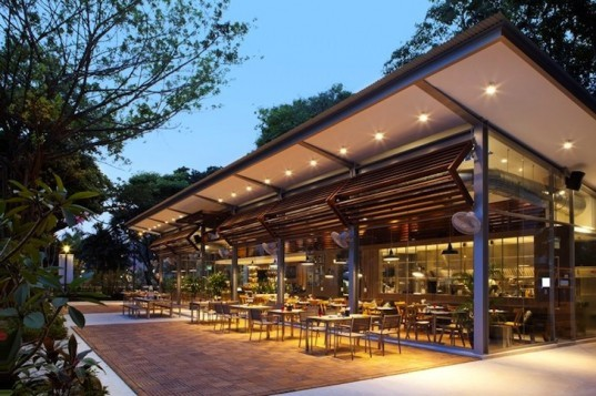 Cafe Melba, Goodman Arts Center, Singpore, eatery, Designphase dba, natural light, natural ventilation, daylighting, timber louvers, sustainable design, green design, eco-design, food