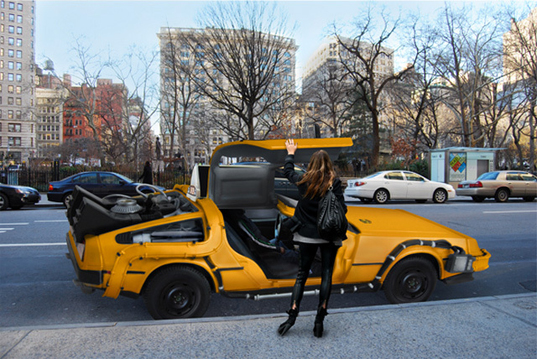 Delorean NYC Taxi, Mike Lubrano, Nooka Advertisement, NYC yellow cabs, science fiction vehicles, movie vehicles, Back to the Future 1985 movie, movie gadgets