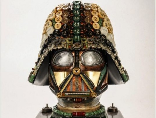 Gabriel Dishaw, upcycled art, recycled materials, art, sculpture, Darth Vader, Star Wars, geek art, Etsy