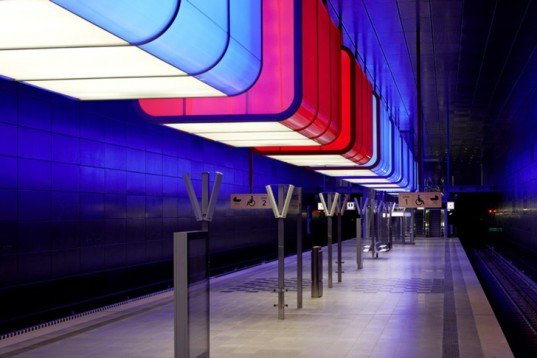 Pfarre Lighting Design, Munich, Hafencity University Subway Station, Germany, Raupach Architekten, LED, Lighting, subway, RGB, colors, shipping containers