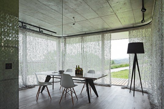 green design, eco design, sustainable design, HHF Architects, House D, basel Switzerland, glass curtains, submerged home, timber home, open plan home