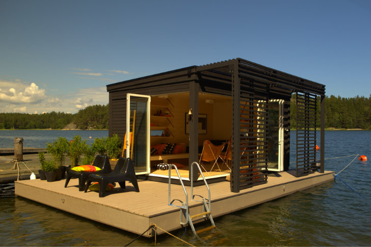A tiny modern floating cabin powered by photovoltaic 39 s - Floating prefabricated home ...