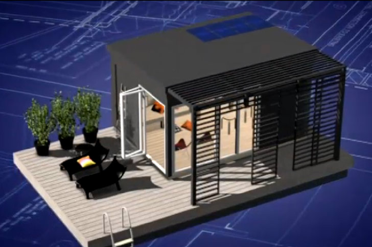 Modern kenjo cabin is a solar powered floating room for a for Guest house models
