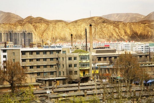 Lanzhou, China, mountains, development, apartments, mountain removal