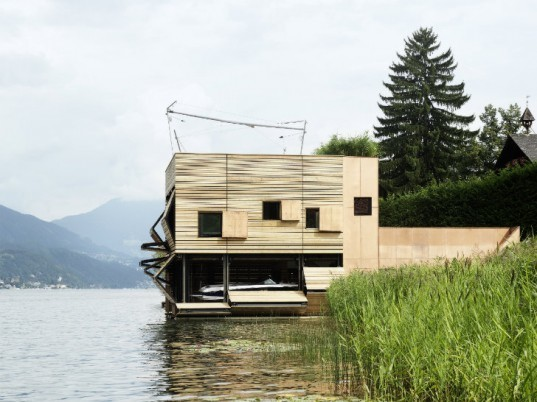 Millstätter Lake Boat House, MHM Architects, boat house, energy efficient design, austria, green roof
