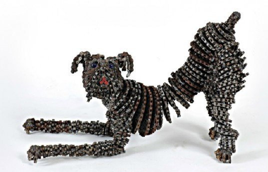 green design, eco design, sustainable design, Nirit Levav, recycled bicycle chains, bicycle chain sculpture, bicycle chain dogs, Israeli Artist, eco art, upcycled art, bicycle art