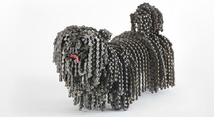 Nirit Levav Upcycles Old Bike Chains Into Sculptures of Man's Best
