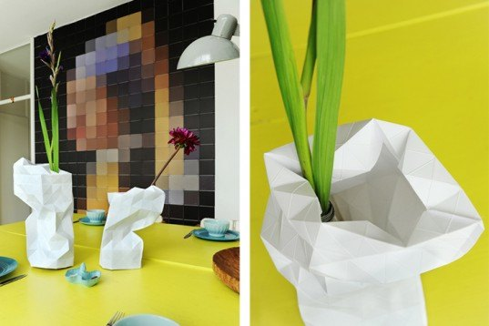 Pepe Heykoop, Paper Vase, Dutch Design Week, India, Tiny Miracles Foundation, folded paper, Green Home decor, humanitarian design, Recycling / Compost,
