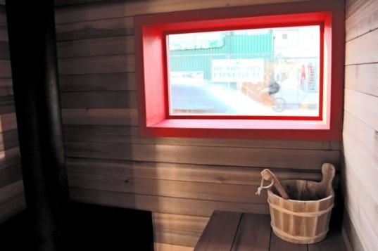 Sauna Box, Castor Design, shipping container sauna, sauna, self-sufficient, solar power, wood-fired sauna
