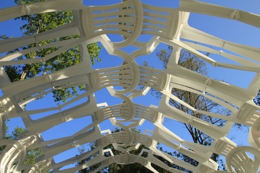 LIKEarchitects, recycled materials, Portugal, plastic chairs, pergola, tunnel, temporary design, nature, recyclable materials, Canal 180, sustainable design, eco design