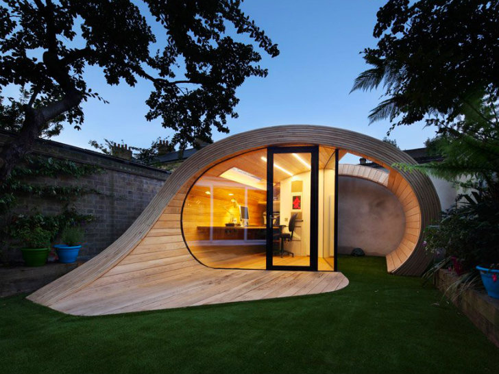 Timber Shoffice Is A Naturally Daylit Garden Shed + Office Combo In London