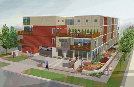 green design, eco design, sustainable design, Steven C Flum, cargotecture, shipping container apartment complex, shipping container architecture, upcycled shipping containers, Detroit shipping container project, The Power of Green Housing Development
