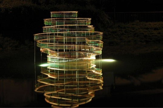Water Carrier, Elise Morin, reclaimed test tubes, eco art, slovakia, water issues, art installation