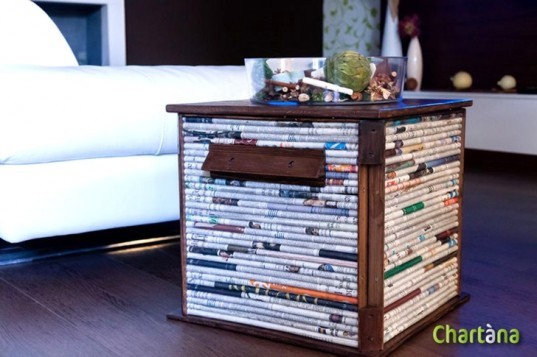 salvaged materials, newspaper, recycled furniture, repurposed materials, chartana table