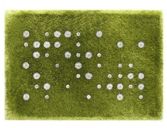 Joe Jin studio, artificial rug, fake flower rug, false flowers, interactive design, playful design, sustainable design