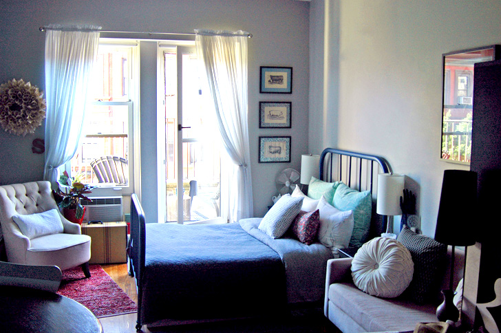 Tiny 330 sq. ft. Studio Feels Open and Airy Thanks to Glass Doors and Design Touches
