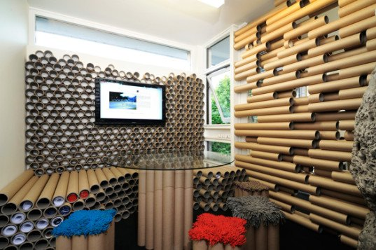 zouk architects, paper tube office, sustainable design, recycled cardboard, sustainable interiors, green interiors, eco interiors, green architecture, sustainable architecture, recycled materials, reused cardboard, paper tubes