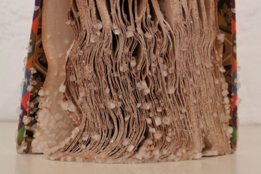Alexis Arnold, crystallizing, books, books sculptures, Borax crystals, Art,