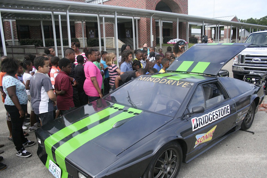 MindDrive, electric car, converted electric car, electric 1977 Lotus Esprit, green transportation, eco-friendly car, green student project, Electrifying Education Coast to Coast, US public education program, transforming cars, eco-friendly travel, green project films, green road movie