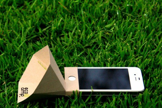 Eco-made, Eco-amp, iPhone amplifier, recycled cardboard, recyclable, biodegradable, green gadgets, Recycled Materials, Recycling / Compost, Green Products,
