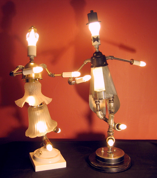 Lamp revival creates unique light sculptures from salvaged lamps