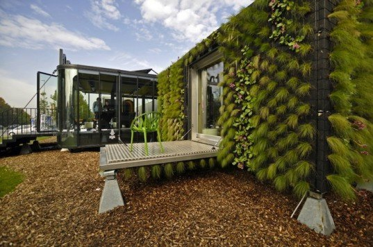 Belgium, HUB01, vertical garden, solar cladding, solar energy, solar panels, wind turbine, green design, modular student housing, Katho Catholic Academy, A3 Architects, dmvA Architecten, student housing covered in plants