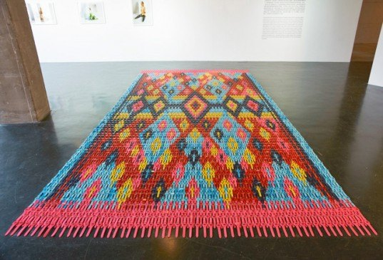 heidi voet, rug, watches, chime, carpet, installation, is six afraid of seven/ 'case seven, eight, nine!