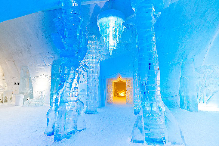 green design, eco design, sustainable design, Ice hotel, hotel de glace canada, Quebec City tourism, Jules Verne, Journey to the Center of winter