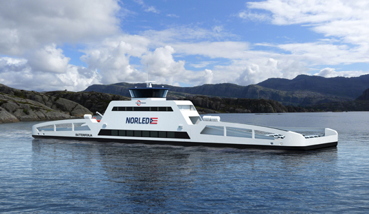 first electric ferry, battery powered ferry,  Sognefjord fjord electric ferry, green transport, green vehicles, battery powered vehicle, energy efficiency, Norway's Ministry of Transport, Norlend electric ferry, green design, green technology