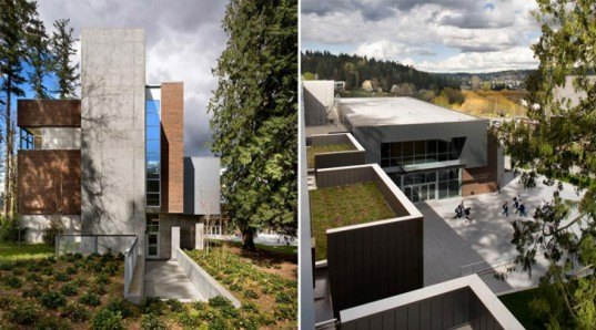Miller Hull, Cascadia Community College, LEED Platinum, Global Learning and the Arts Building, USGBC, photovoltaic solar array, reclaimed rainwater, green roof