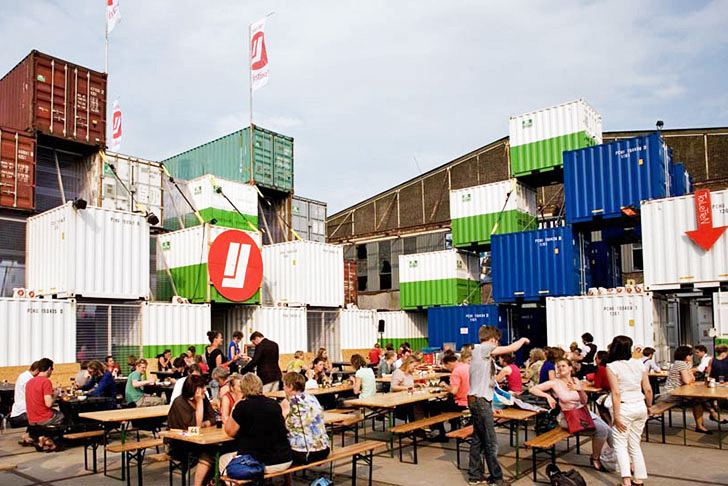 O A S Recycled Shipping Container Theater Pops Up In