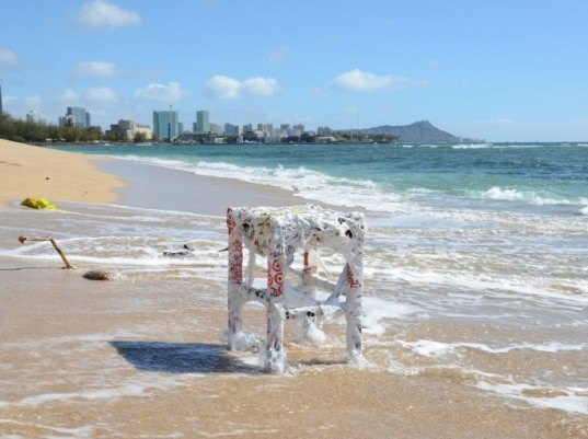 recycled plastic bags, plastic bag repair, stool fixed with plastic bags, Hongtao Zhou, recycled plastic, green art, eco art, green design, sustainable design, hawaii, pacific garbage patch, plastic oceans, green interiors, green furniture, recycled furniture