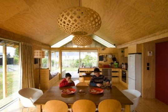 Daylighting, sustainable timber, Shoal Bay Bach, Parsonson Architects, green design, sustainable design, eco-design, minimalist design, daylighting, solar gain, timber, solar water heater, louvers, New Zealand