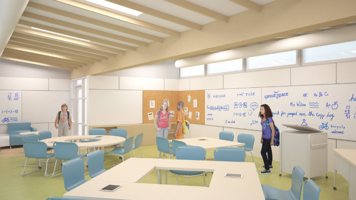 Innovative Classroom Layouts : Innovative sprout space prefab classroom on its way to the