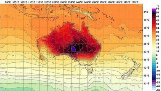 australia, heat wave, gasoline, gas, outback, oodnadatta, vaporize, climate change, new colors, map, autralian bureau of meteorology