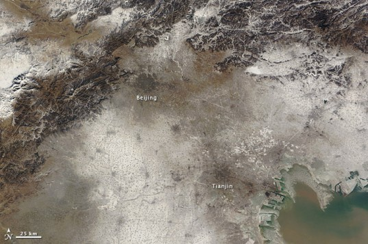 NASA Earth Observatory, NASA satellite images Beijing, Beijing air pollution, China air pollution, World Health Organization, Beijing smog, air pollution, China environmental destruction, Beijing record air pollution, China satellite images, Beijing air quality, China orange fog warning
